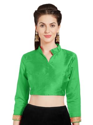 Leaf Green Art Silk Readymade Partywear Saree Blouse