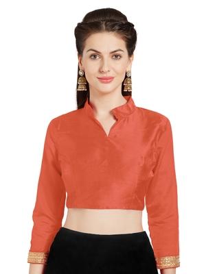 Orange Art Silk Readymade Partywear Saree Blouse