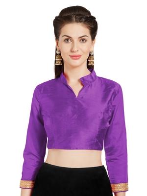 Purple Art Silk Readymade Partywear Saree Blouse