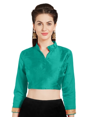 Teal Art Silk Readymade Partywear Saree Blouse
