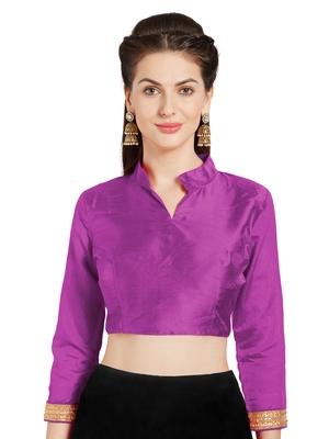 Wine Art Silk Readymade Partywear Saree Blouse