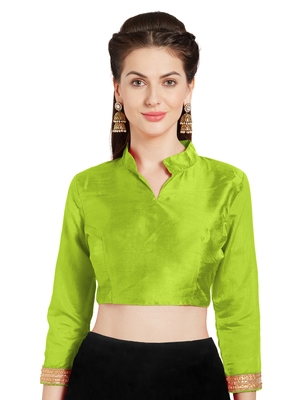 Parrot green Art Silk Readymade Partywear Saree Blouse