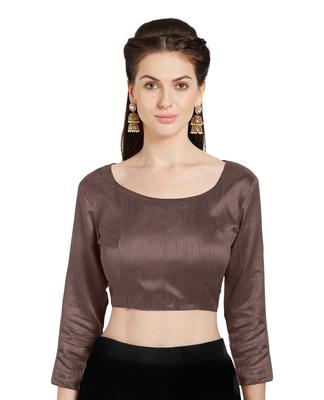 Brown Art Silk Readymade Party Saree Blouse