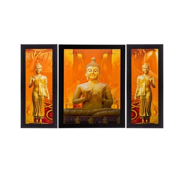Set of 3 Meditating Buddha Matt Textured UV Art Painting