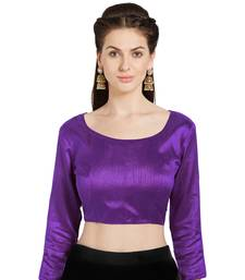 Purple Art Silk Readymade Party Saree Blouse