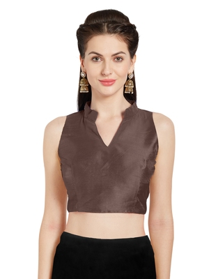 Brown Art Silk Readymade Party Saree Blouse