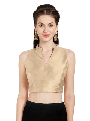 Beige Art Silk Readymade Party Saree Blouse