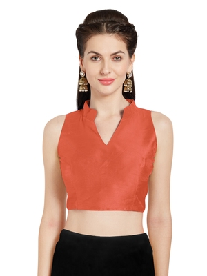 Orange Art Silk Readymade Party Saree Blouse