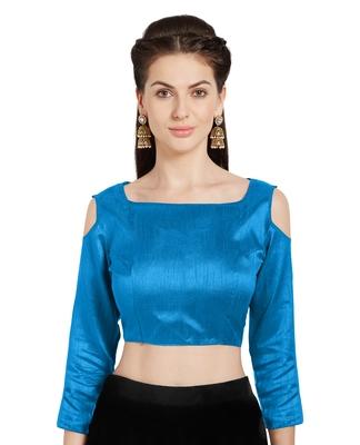 Turquoise Art Silk Readymade Partywear Saree Blouse Choli Cold Shoulder Mirchi Fashion Top