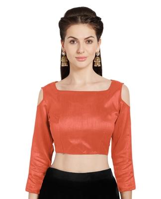 Orange Art Silk Readymade PartywearSaree Blouse