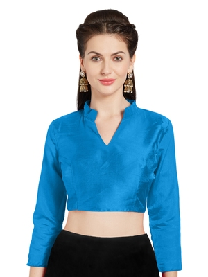 Turquoise Art Silk Readymade Saree Blouse