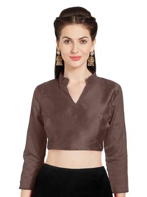 Brown Art Silk Readymade Saree Blouse