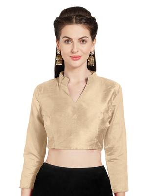 Beige Art Silk Readymade Saree Blouse