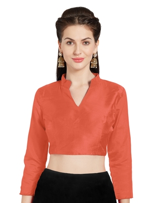 Orange Art Silk Readymade Saree Blouse