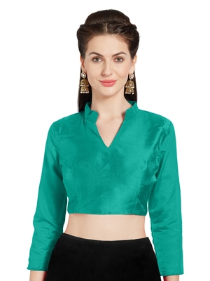 Teal Art Silk Readymade Saree Blouse