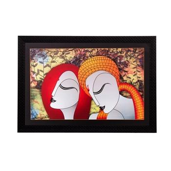 Abstract Radha Krishna Matt Textured UV Art Painting