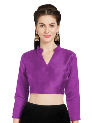 Wine Art Silk Readymade Saree Blouse