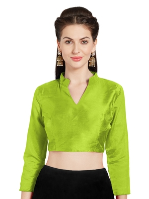 Parrot Green Art Silk Readymade Saree Blouse