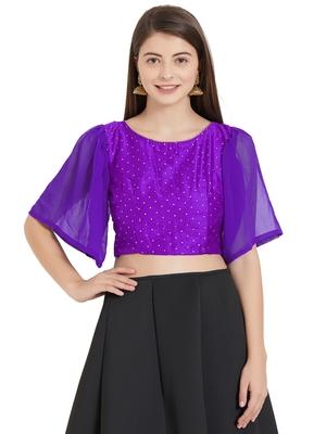 Purple  Art Silk N Faux Georgette Art Silk Ready-Made Saree Blouse