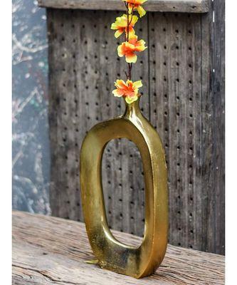 Golden Oblong Flower Vase
