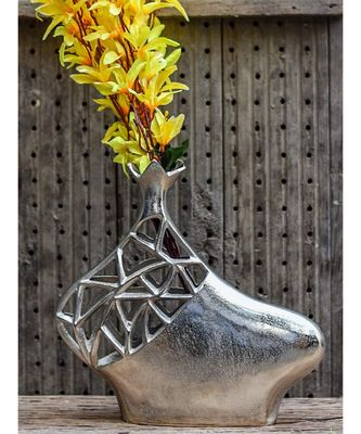 Elements Embossed Aluminium Vase