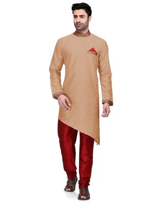 Brown embroidered dupion silk kurta-pajama