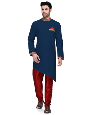 Blue embroidered dupion silk kurta-pajama