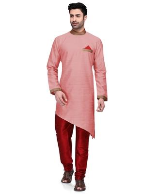 Pink embroidered dupion silk kurta-pajama