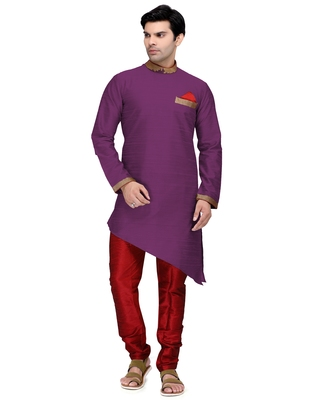 Purple embroidered dupion silk kurta-pajama