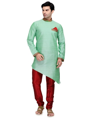 Blue embroidered dupion silk kurta-pajama