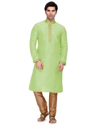 Green embroidered dupion silk kurta-pajama