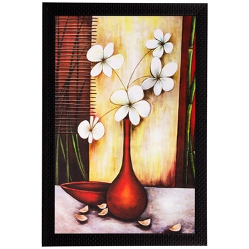 White Flowers and Vase Matt Textured UV Art Painting