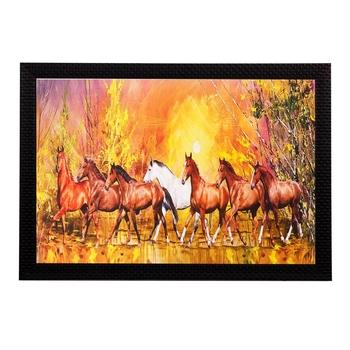 Running Brown Lucky Horses Matt Textured UV Art Painting