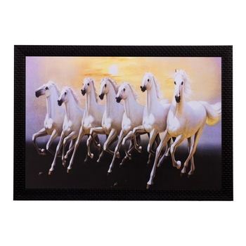 Running White Lucky Horses Matt Textured UV Art Painting