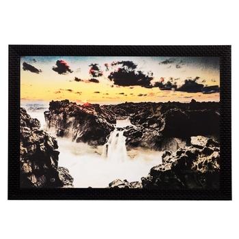 Stone and Waterfall View Matt Textured UV Art Painting