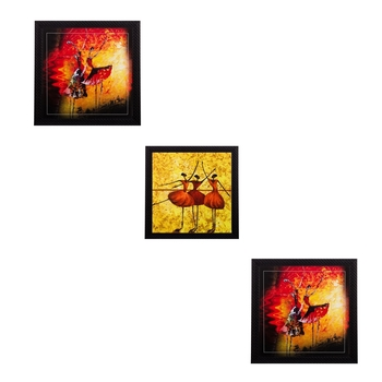Set of 3 Dancing Girls Matt Textured UV Art Painting