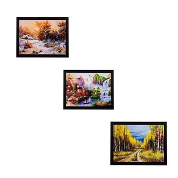 Set of 3 Nature Scenary Matt Textured UV Art Painting