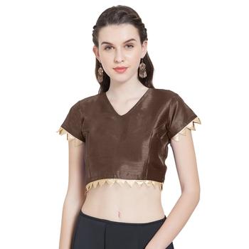 Brown Art Silk Ready-Made Saree Blouse