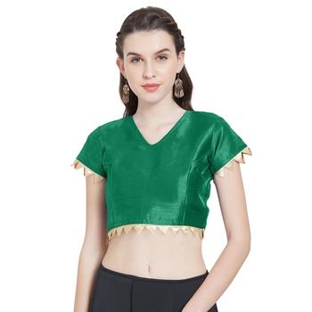 Dark Green Art Silk Ready-Made Saree Blouse