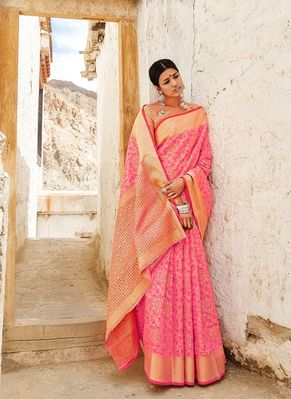 Salmon woven silk saree with blouse