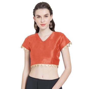 Orange Art Silk Ready-Made Saree Blouse