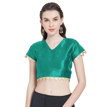 Teal Art Silk Ready-Made Saree Blouse