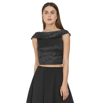 Black Art Silk Ready-Made Saree Blouse