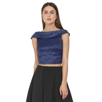 Navy Blue Art Silk Ready-Made Saree Blouse