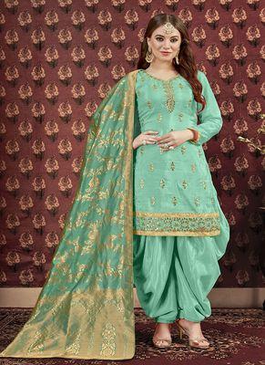 Cyan embroidered uppada silk salwar