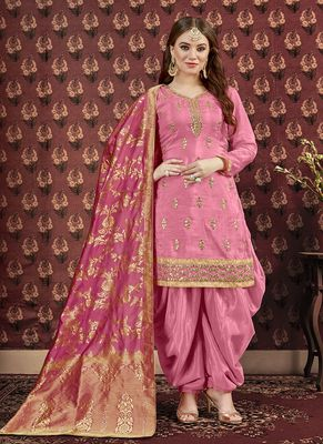 Pink embroidered uppada silk salwar