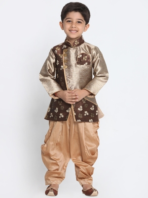 Bronze Woven Blended Cotton Boys Sherwani