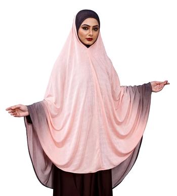 Justkartit Violet Color Long Stitched Ready To Wear Women Prayer Hijab Abaya