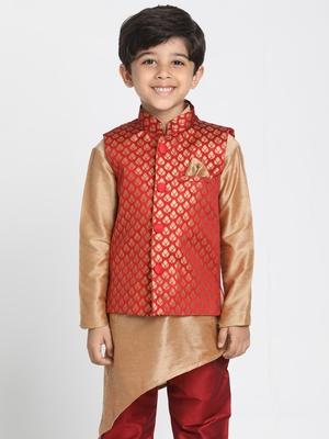 Maroon printed blended cotton boys-nehru-jacket