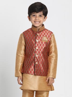 Maroon Printed Silk Blend Boys Nehru Jacket